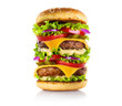 canvas print picture - Gigantic delicious burger, isolated on white background