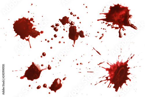 Fotografía  Blood dripping set, isolated on white background
