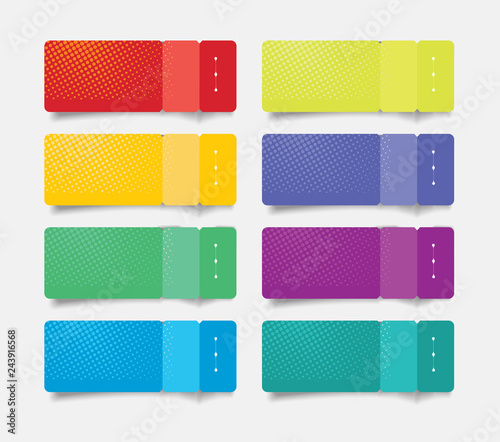 Paper tags with bent corners, can be used for option banners, price