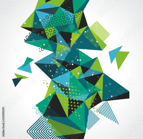 Fotografie, Obraz  Abstract geometric 3D polygonal background. Vector illustration.