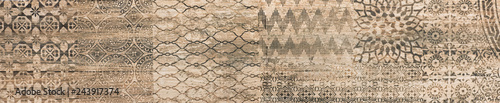 Photo ceramic tile with abstract ornamental floral pattern