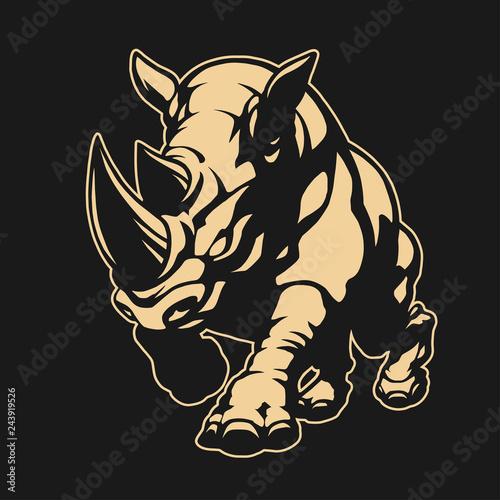 Fotografie, Obraz Angry rhino emblem