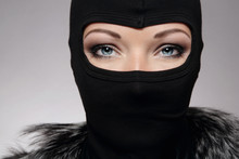 Beautiful Woman In Black Biker's Balaclava