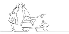 Continuous Line Drawing Of A Couple Kiss With Retro Scooter Motor Bike. Vintage Creative Minimalist Concept Of Romance.