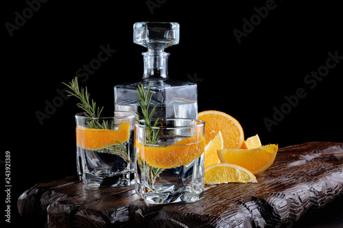 Obraz na płótnie Classic Dry Gin with tonic and orange zest