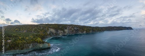 Cuadros en Lienzo Aerial panoramic Canadian Landscape View by the Atlantic Ocean Coast during a cloudy sunrise