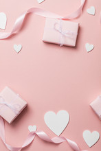 Pink Valentine Gift Frame Layout With White Hearts On A Pastel Pink Background