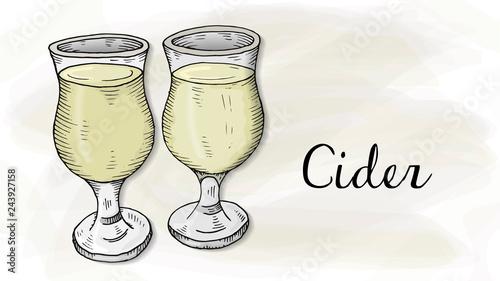 Fotografía Vector Illustration of Cider Glasses Sketch Style