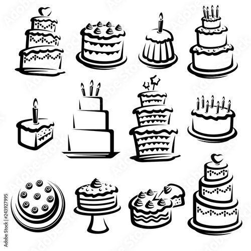 Cake set. Elements and icons collection. Vector Fototapete