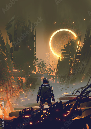 Foto op Plexiglas Grandfailure astronaut standing in a burnt city and looking at a yellow glowing ring in the dark sky, digital art style, illustration painting