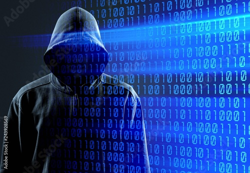Fototapety, obrazy: Thief in black clothes on grey background