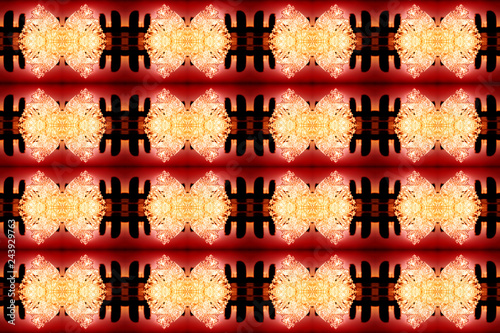 Montage in der Fensternische Schmetterlinge im Grunge Abstract background yellow red black. A kaleidoscope of glowing ice particles in the form of bows.