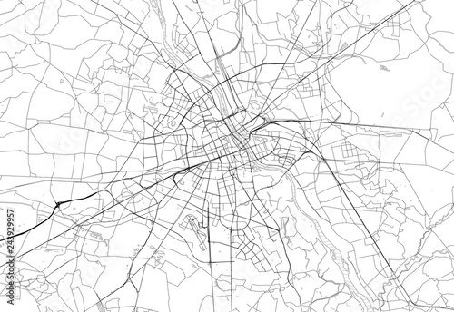 Area map of Warsaw, Poland