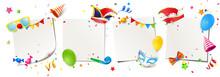 Fasching - Zettel Set Mit Fasching Accessoires, Mützen, Masken, Luftballons, Hütchen, Tröte