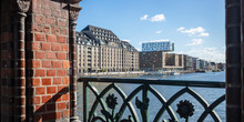 Panoramic View From Oberbaum Bridge, Kreuzberg East Side, Berlin, Germany. Blue Sky, Ships And City Background.