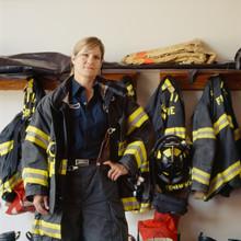 Portrait Of Female Firefighter...