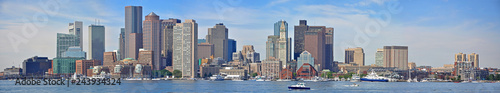 Fotografie, Tablou Boston Skyline and Custom House panorama from East Boston, Massachusetts, USA