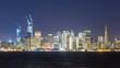 Timelapse of San Francisco Skyline City Lights over Bay -Zoom In-