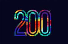 Rainbow Colored Number 200 Logo Company Icon Design