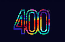 Rainbow Colored Number 400 Log...