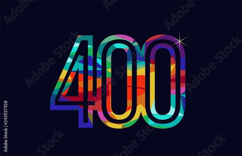 Fotografia  rainbow colored number 400 logo company icon design