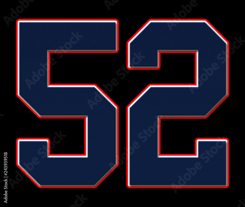 Fotografia  52 American Football, Baseball and Basketball Classic Vintage Sport Jersey Number in blue, white and red