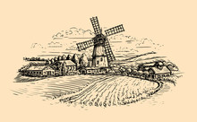 Rural Landscape Sketch. Farm, Windmill And Field. Vintage Vector Illustration