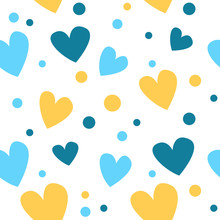 Cute Seamless Pattern With Yellow And Blue Hearts, Points. Babies Fashion, Patter Wallpaper. Vector Illustration
