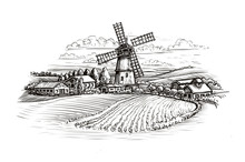 Rural Landscape Sketch. Farm, Windmill And Field. Vintage Illustration