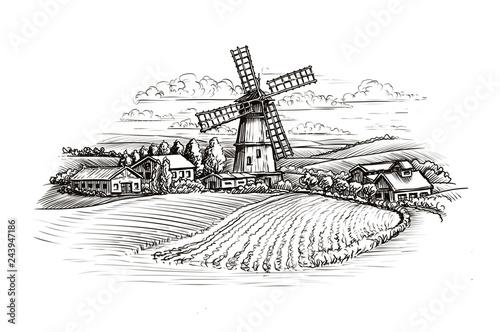 Cuadros en Lienzo Rural landscape sketch