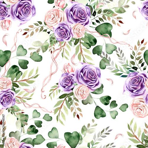 akwarela-wzor-z-kwiatow-roz-i-lisci-eukaliptusa