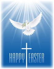 Happy Easter. White Flying Dove With Olive Branch And Cross. Vector Illustration.