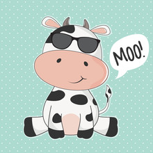 Greeting Card Cute Cow With Sunglasses And Inscription Moo.