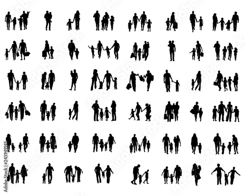 Black silhouettes of families in walk on a white background - 243949145