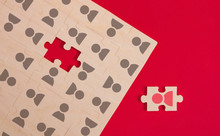 People Icon On The Puzzle Piece.staff Concept