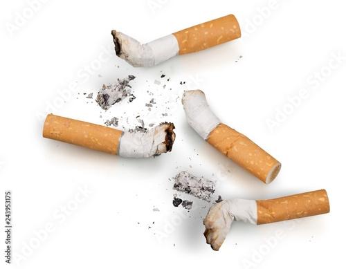Cigarette butts Isolated Fototapeta