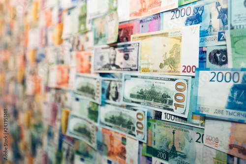 Close Up International Banknote Background For Global