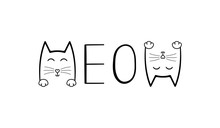 Cute Cat Graphic.Meow Handwriting Lettering. Typography Slogan For T Shirt Printing, Slogan Tees, Fashion Prints, Posters, Cards, Stickers