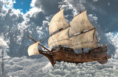 In de dag Schip Sailboat flying above the clouds 3d illustration