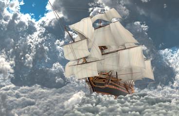 Żaglówka latająca nad chmurami 3d ilustracji