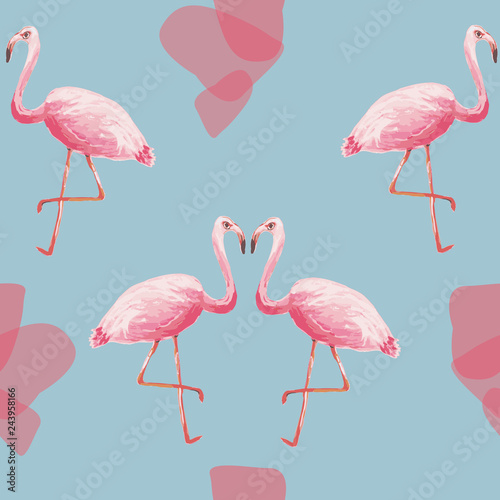 Canvas Prints Flamingo Bird Hand painted pink flamingos on blue background seameless repeat.