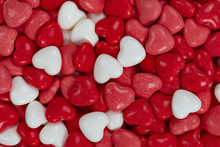 Close Up Of Red, Pink And White Heart Shaped Candy