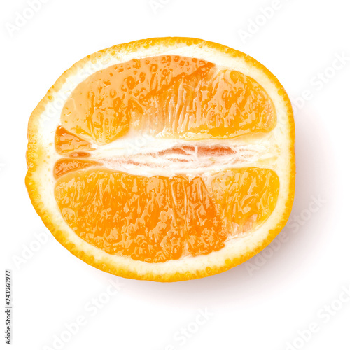 Fotografía  half of Orange fruit  isolated on white background closeup