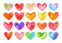 Watercolor Set Of Colorful Hea...