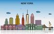 New York City Tour Cityscape Skyline Colorful Illustration