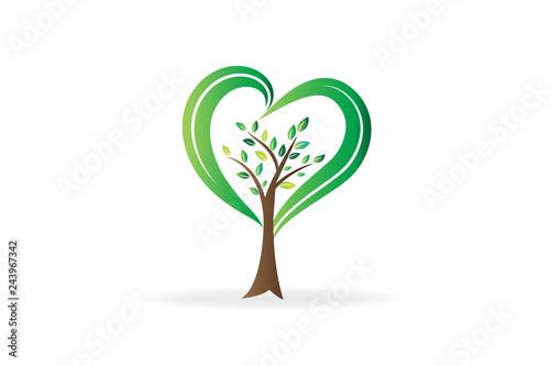 Fotografie, Obraz  Logo tree love heart shape ecology symbol icon