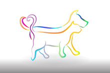 Logo Colorful Cat And Dog