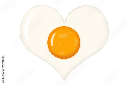 Fried Egg With Heart Shaped Egg White Isolated on White Background