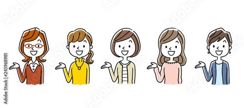 複数の女性:セット Wallpaper Mural