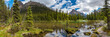 canvas print picture - Lake Ohara hiking trail in cloudy day in Spring, Yoho, Canada